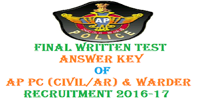 AP PC (civil AR) Warders FWT Answer Key 2017