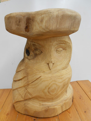 carved wooden owl stool