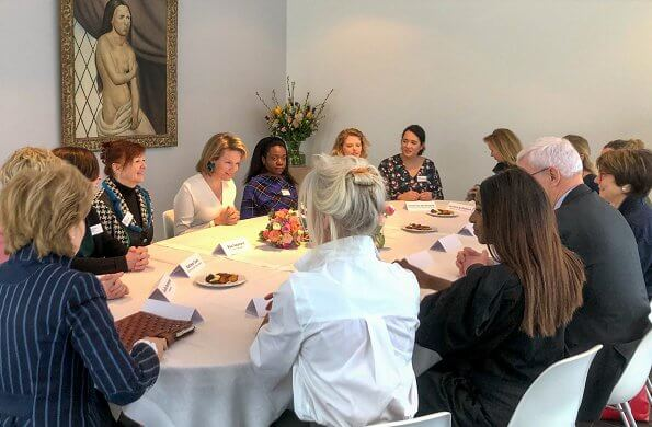 On the occasion of the International Women's Day, Queen Mathilde of Belgium attended a meeting with women from various sectors