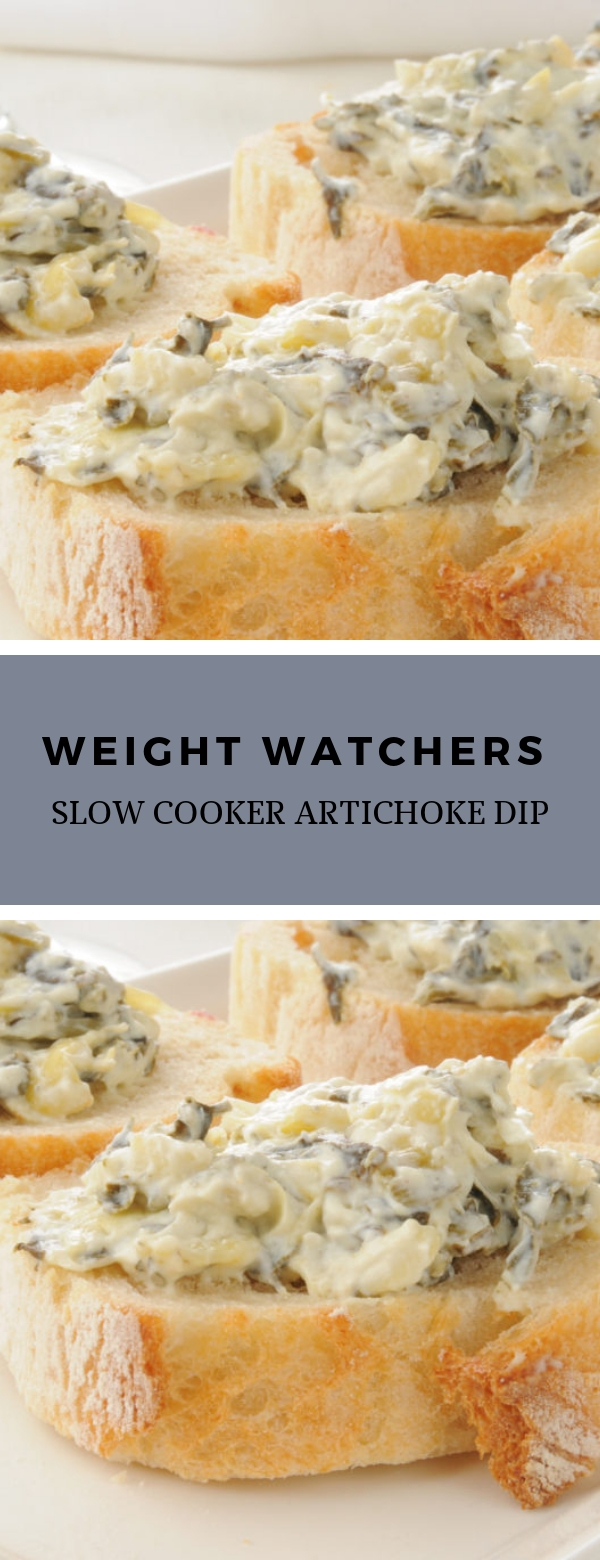 Weight Watchers Slow Cooker Artichoke Dip #appetizer #snack #dip #weightwatchers