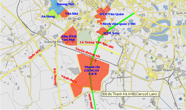 Vị trí khu đô thị Thanh Hà Cienco 5 Hà Đông