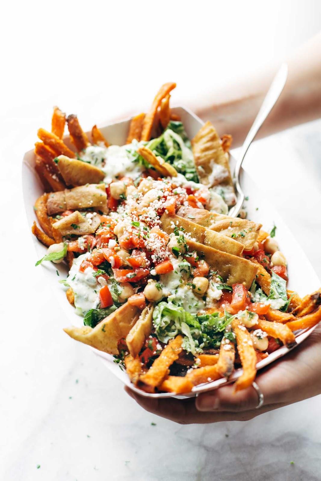 loaded mediterranean street fries