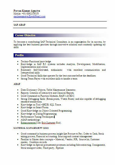 Merveilleux Sap Bi Resume For Fresher Skills Computer Child Care Worker Sample