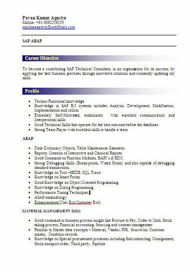abap freshers resume sample