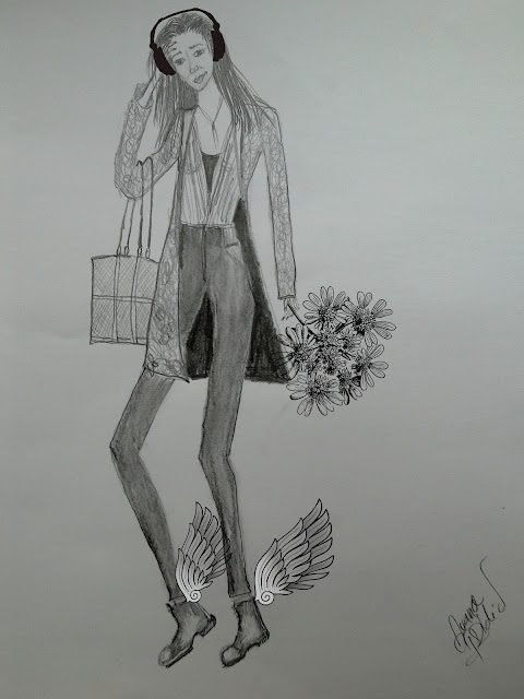 What I Draw Today (Fashion Illustrations of the Day:  Pencil & Something New)