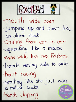 "Showing sentences for EXCITED. This blog post contains a complete ""Show, Don't Tell"" writing lesson and the printables you'll need to create the anchor chart and replicate the activities!"