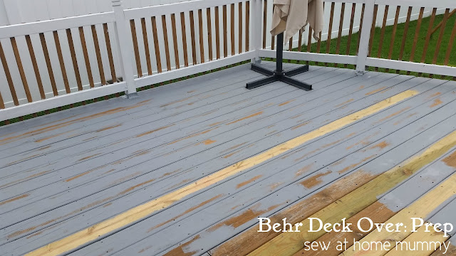 In progress: Using Behr Deck Over to rehab a deck - prep stage. You have to brush the thick, gelatinous paint into every crack and crevice for best results.