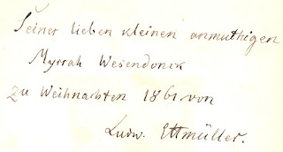 Ludwig Ettmüller: Widmung an Myrrha Wesendonck, 1861