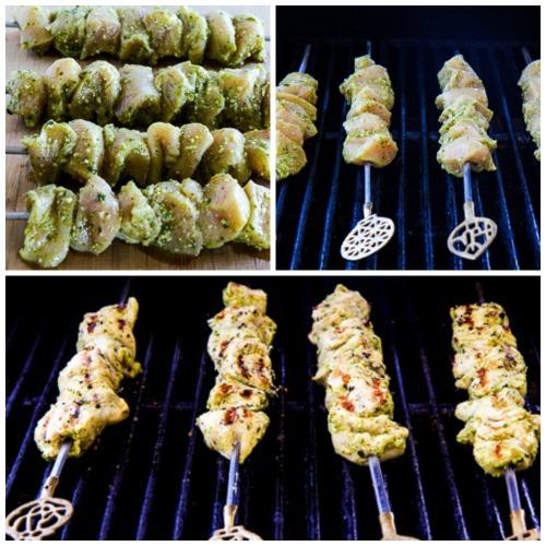 Ultra Easy Pesto Lemon Chicken Kabobs found on KalynsKitchen.com.