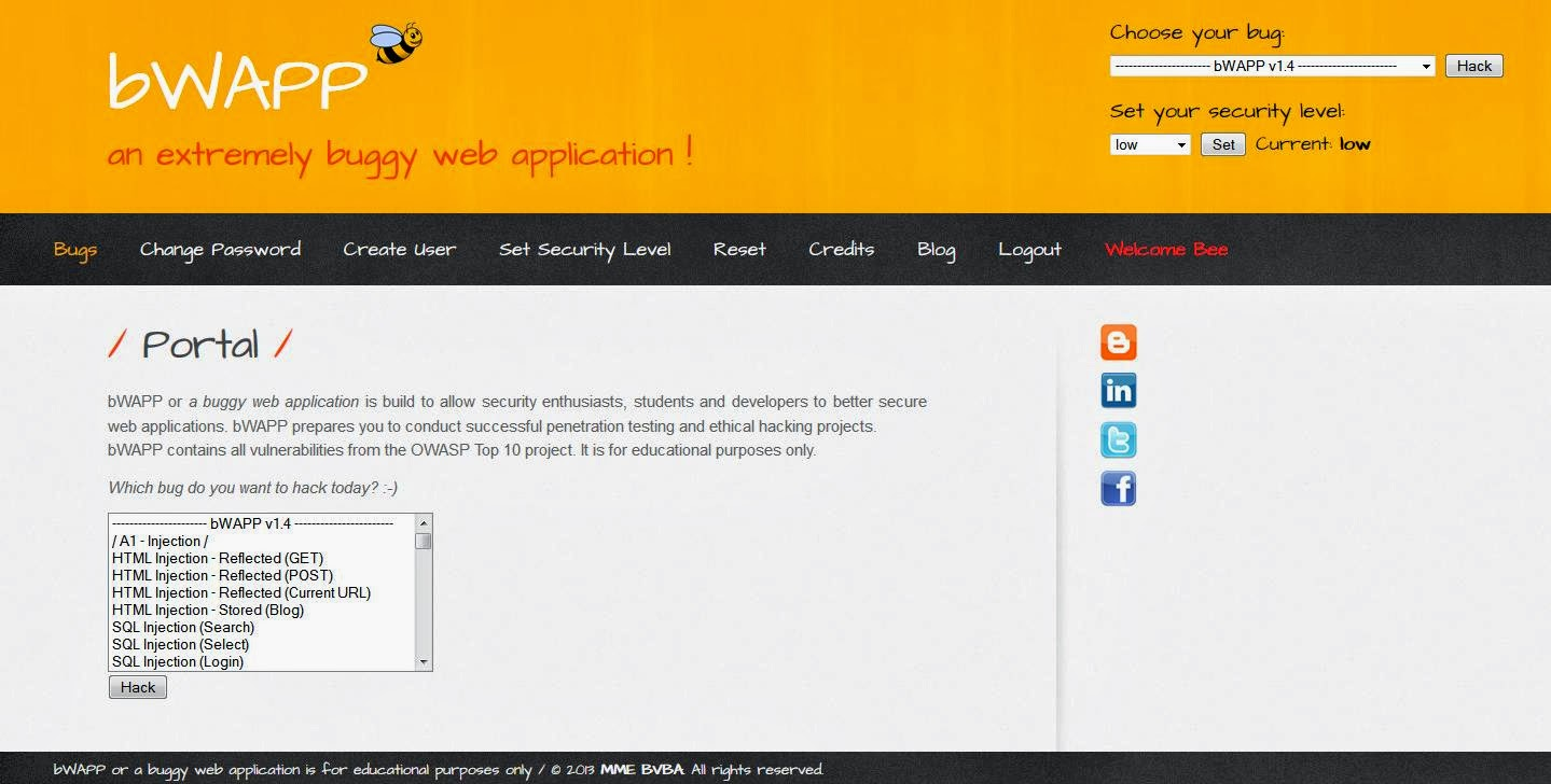 bWAPP] an extremely buggy web application! | KitPloit