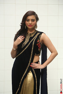 Priyanka Ramana in Beautiful Designer Black Saree At We Craft Elegance Expo Launch 043.JPG