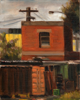 Oil painting of a small red-brick two-storey building with an electricity pole behind and a shipping container in front.