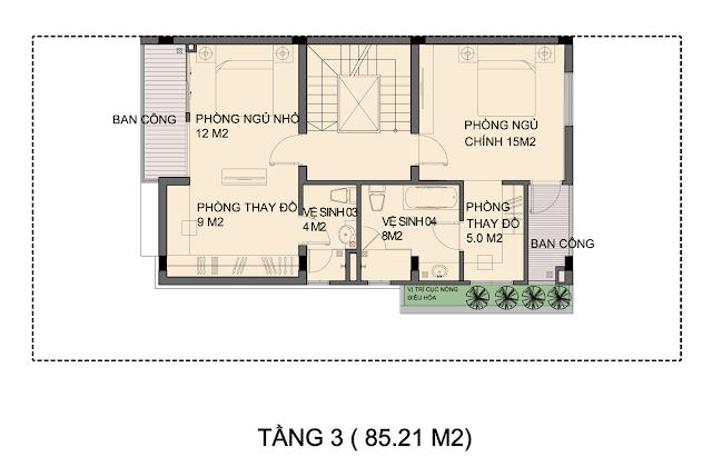 Mẫu biệt thự An Phú Shop Villa P1-1 tầng 3