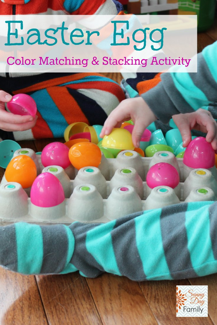 Color matching & sorting activity for toddlers and preschoolers using recycled plastic eggs. Part of the 60 Day Junk Play challenge series.
