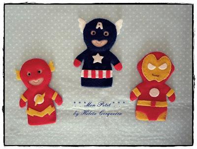 dedoches-Vingadores-em feltro-Flash-Capitão América-Homem de Ferro-lembrancinhas-felt-Avengers