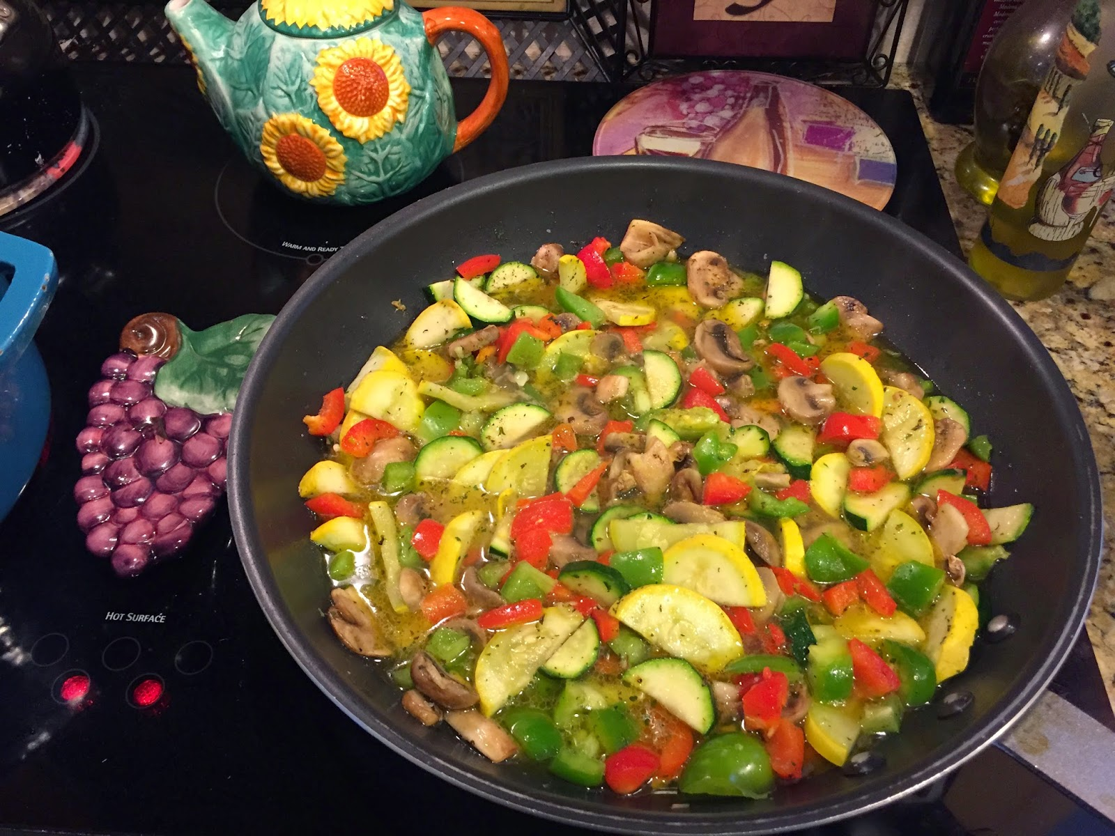 Sauteing vegetables for pasta primavera