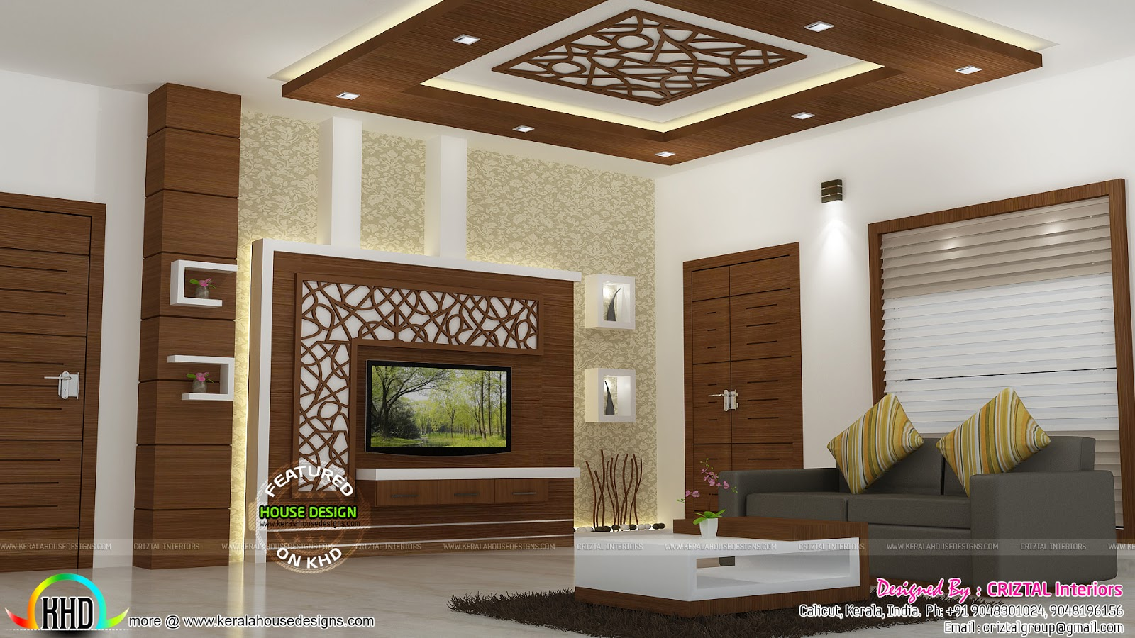 Bedroom dining hall and living interior kerala home design and floor plans for Living and dining hall interior design