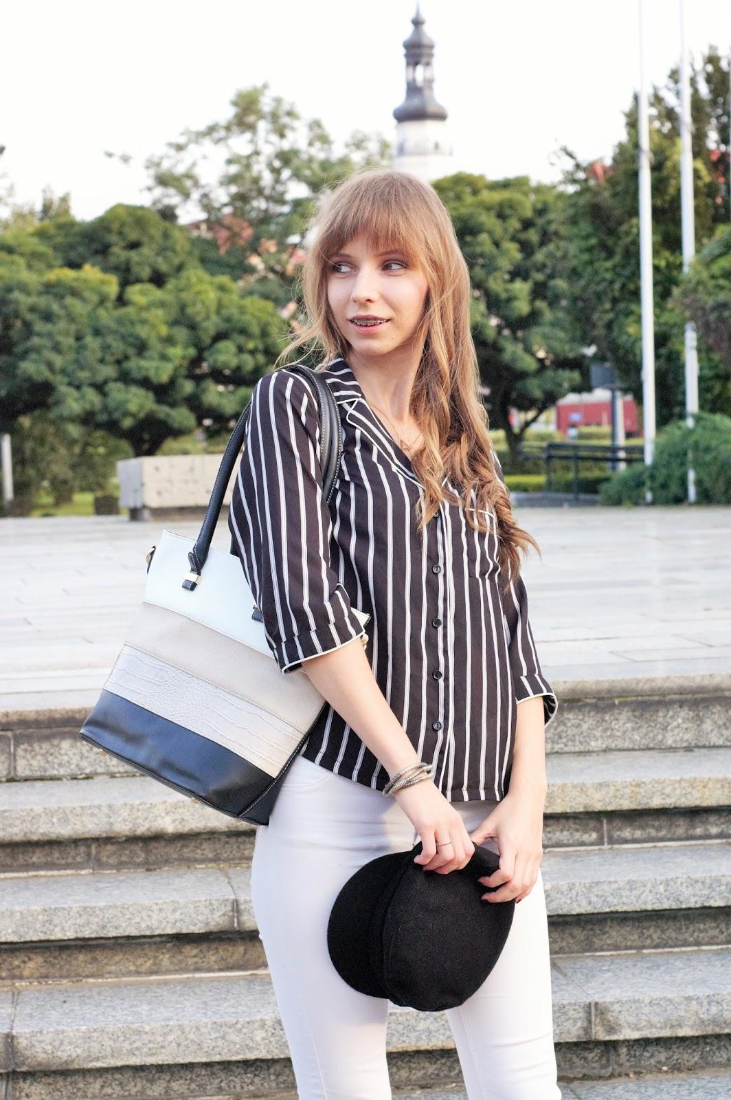 koszula w paski i kaszkiet | black&white look