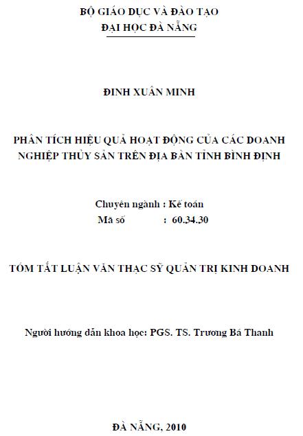 Phân tích hiệu quả hoạt động của các doanh nghiệp thủy sản trên địa bàn tỉnh Bình Định