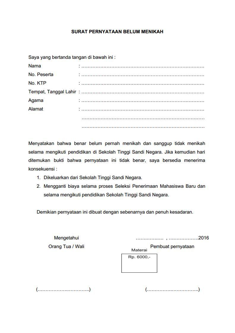 surat pernyataan stsn