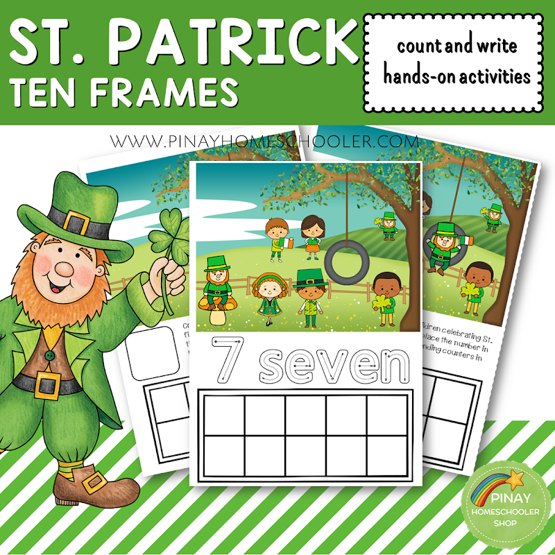 St. Patricks Day Ten Frames Count and Write Activities
