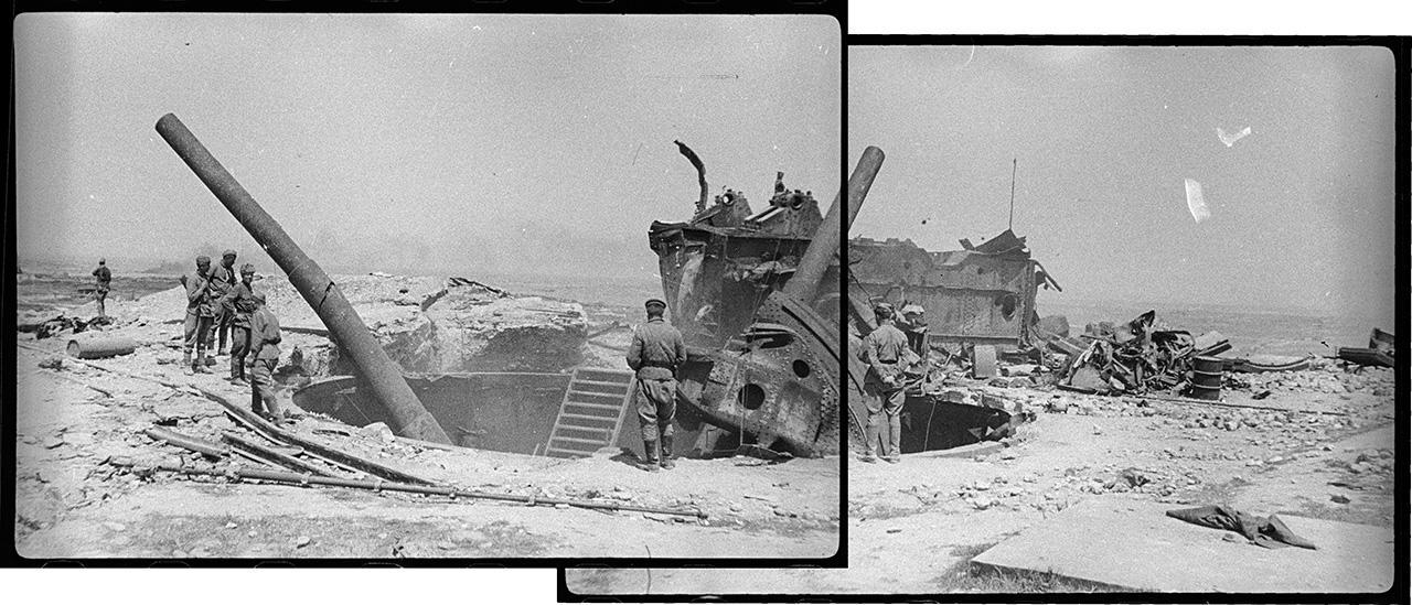 Орудия 35-й батареи, подорванные советскими войсками перед эвакуацией Севастополя в 1942 году