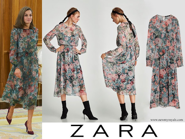 Queen Letizia wore ZARA Printed Midi Dress