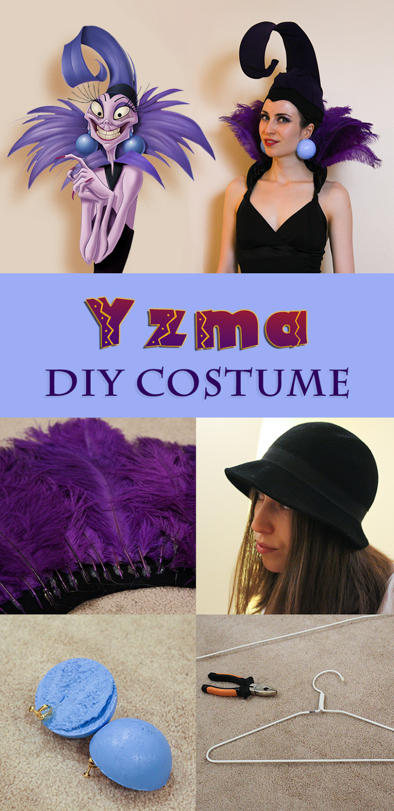 Yzma costume for under $50, made in 3 hours. Step-by-step instructions, made from a cloche hat, two hangers, feathers and a pair of tights.