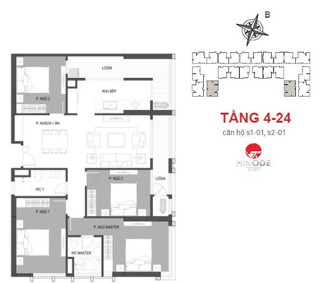 Thiết kế căn 01 tòa Sachi