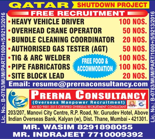 Qatar Shutdown Jobs : Free Recruitment: Prerna Consultancy Mumbai
