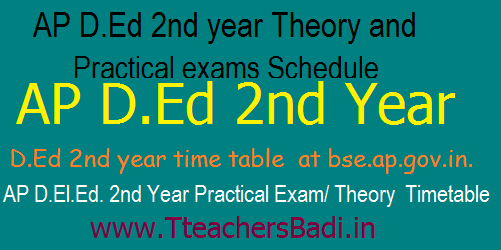 AP D.Ed 2nd year Theory/ Practical exams Schedule/Dates 2017 for 2015-17 Batch Students