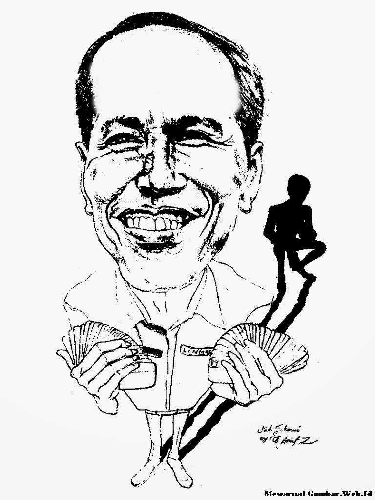 Gambar Karikatur Jokowi Hitam Putih