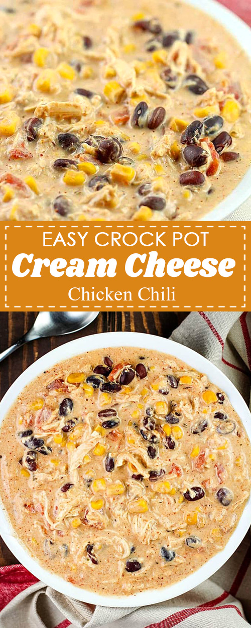 Easy Crock Pot Cream Cheese Chicken Chili Recipe