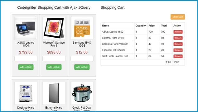 Ajax Jquery Shopping cart by using Codeigniter Cart Library | Webslesson
