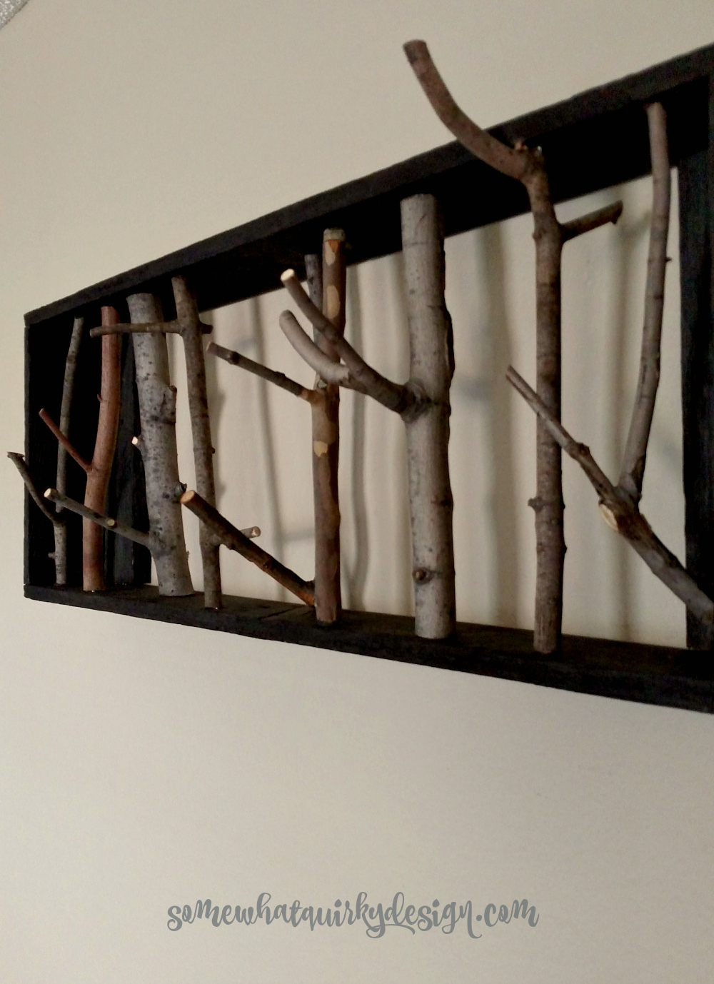 Coat Rack Made From Branches And Twigs