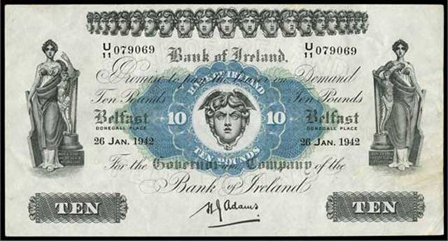 British Ten-Pound note issued by the Bank Ireland, 26 January 1942 worldwartwo.filminspector.com
