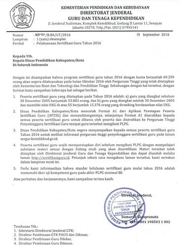 Download Surat Edaran Dirjen GTK Kemendikbud Tentang Pelaksanaan Sertifikasi Guru