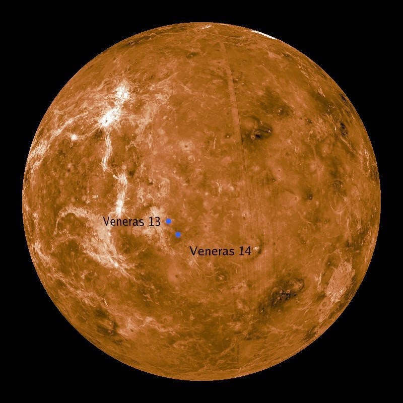 Sondas Venera 13 y 14 Venus