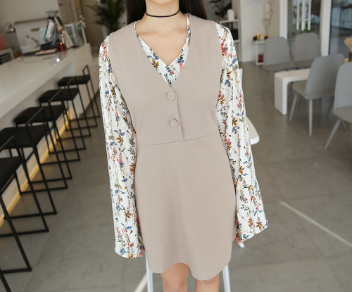 Half Button Up A-Line Dress