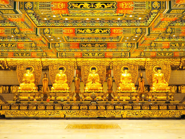 Golden statues in the Hall of Ten Thousand Buddhas, Po Lin Monastery, Ngong Ping, Lantau Island, Hong Kong