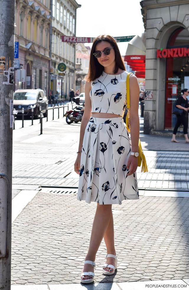 Hot to wear cropped top and a midi skirt, street style summer fashion inspiration; Ljetni stajling za inspiraciju - ulična moda, Lucija Lisica, moda i dizajn, Nohaa torbice