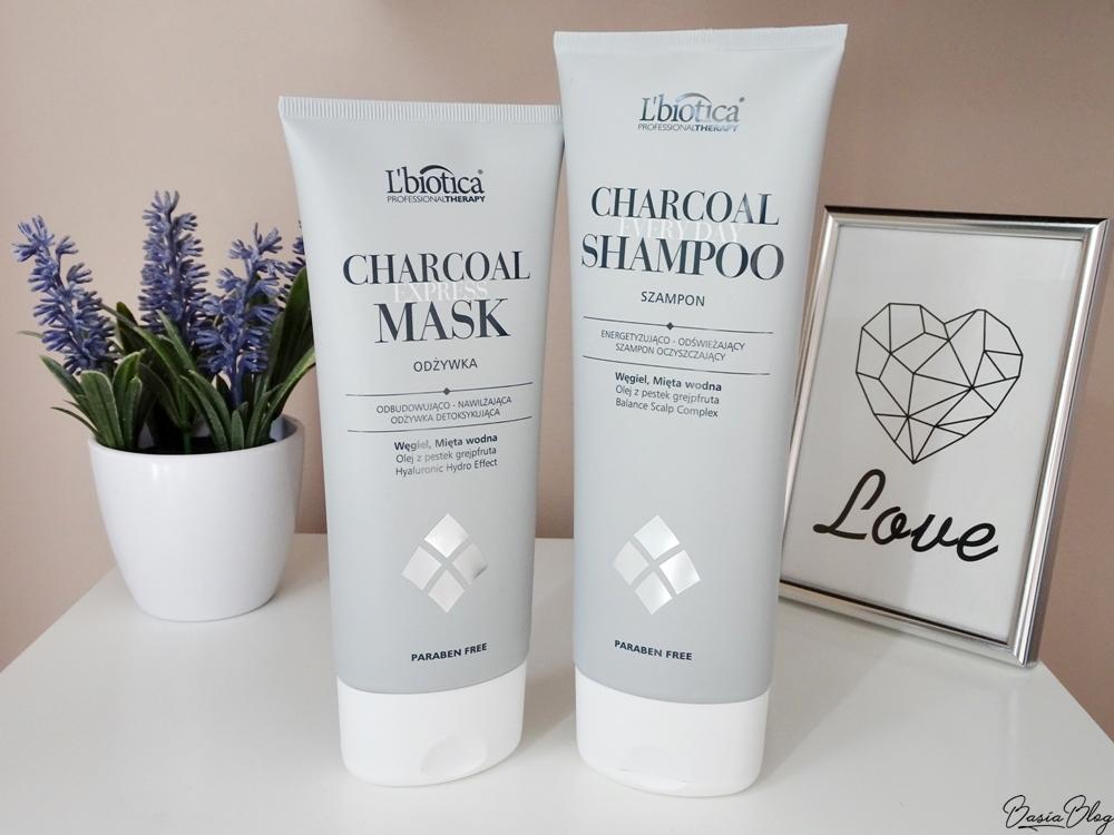 L'Biotica Charcoal mask, L'Biotica Charcoal shampoo, szampon węglowy, odżywka węglowa