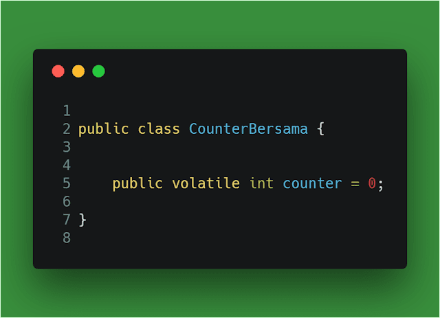 Contoh variable volatile yang menggunakan keyword volatile java