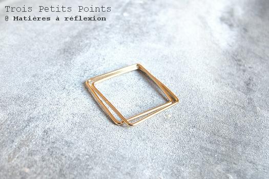 Bague carrée dorée double Trois Petits Points bijoux