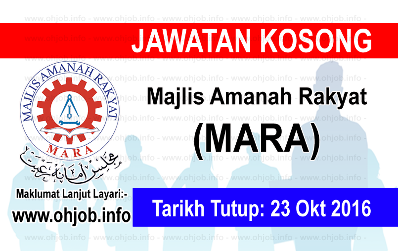 Jawatan Kerja Kosong Majlis Amanah Rakyat (MARA) logo www.ohjob.info oktober 2016