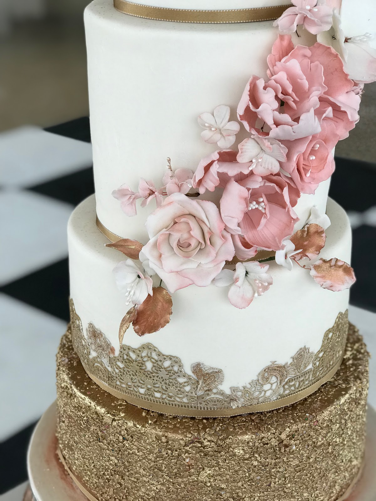 Blush Pink And Rose Gold Wedding Cake Close Up