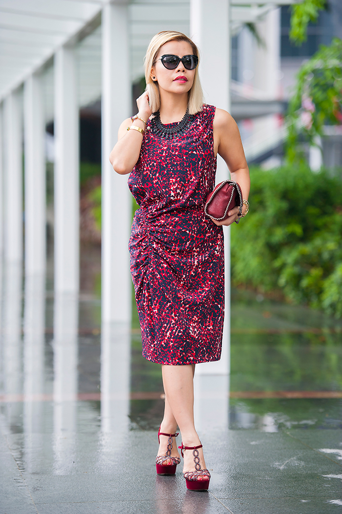 Crystal Phuong decked in Thakoon maroon printed dress and Sergio Rossi crystal T-bar heels