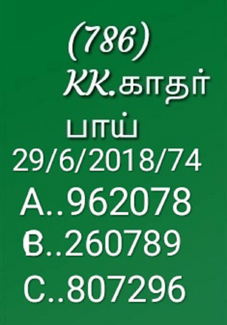 kerala lottery abc guessing by KK on 29-06-2018 nirmal NR-75