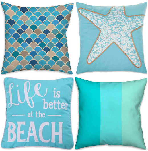 Blue Coastal Ocean Wave Stripe Pillows