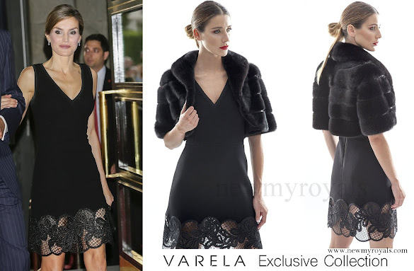 Queen Letizia wore Felipe Varela Dress Exclusive Collection
